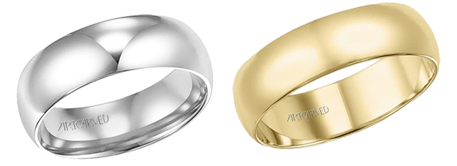 White gold and yellow gold men's Artcarved Wedding bands