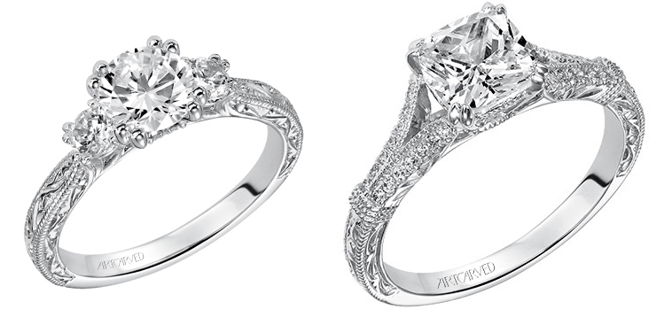 White Gold Sidestone Diamond ArtCarved Engagement Rings